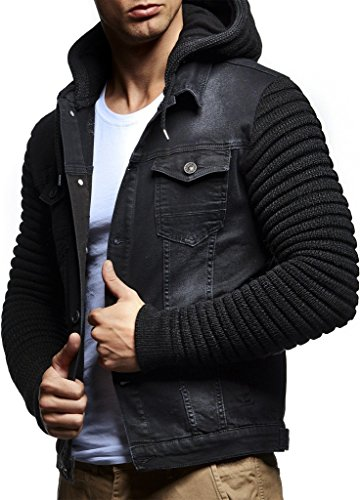 Leif Nelson LN5240 Men's Casual Denim Jacket with Knitted Sleeves; Size XXL, Black