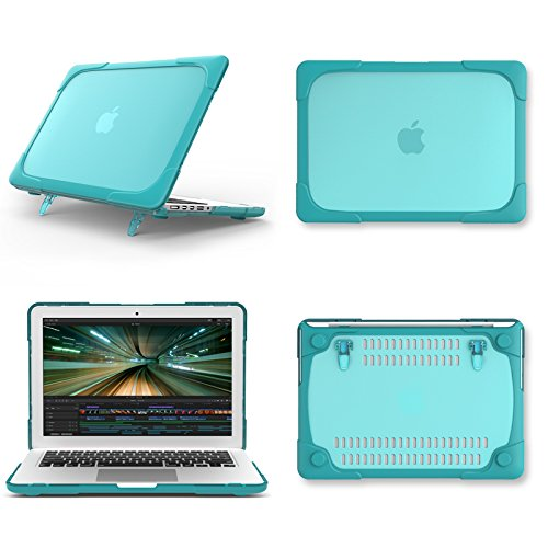 AUSMIX MacBook Air 11 Inch Kickstand Case, 2 in 1 Rubberized Hard Plastic Case Cover Shock Proof Translucent Matte Protective Case for Laptop MacBook Air 11.6 Inch (Models: A1370 A1465) - Light Blue