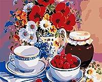 数字でペイントカラフルな花と果物大人のための数字でDIYペイント初心者DIY油絵キャンバス絵画16x20インチフレームレス