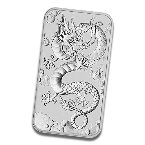 Barras de plata para monedas, diseño de dragón rectangular, 1 onza, 4260578492935