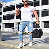 Skinny Jeans Hombres Streetwear Jeans Homme Hip Hop Agujero Roto Pantalones lápiz Masculinos Pantalones de Motorista Pantalones a Rayas L Azul Claro