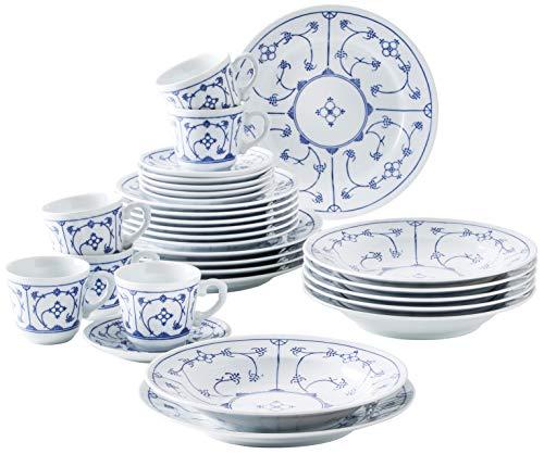 Kahla 410852A75056H Blau Saks Geschirrset für 6 Personen Porzellanservice 30-teilig blauweiß rund Vintage Blumenmuster Kombiservice Tellerset + Kaffeeservice Tassen Teller