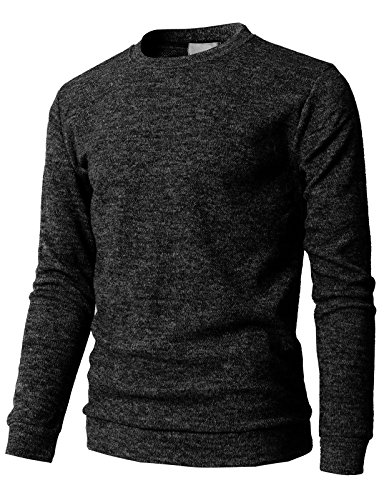 H2H Mens Fashion Casual Slim Fit Pullover Crew Neck Classic Knitwear Sweaters Charcoal US L/Asia XL (KMTTL0450)