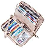 Chelmon Womens Wallet Leather RFID Blocking Purse Credit Card Clutch(SL Rose Gold)