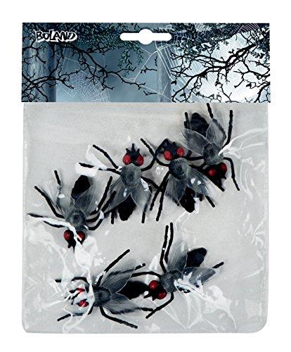 Lot de faux animaux pour décoration 6 mouches Noir