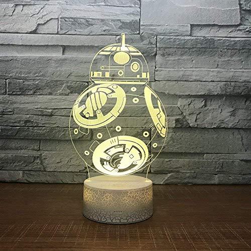 Venta caliente Robot 3D Lámpara de noche Lámpara de mesa creativa de dibujos animados Lámpara 3D Nuevo regalo extraño Fabricante Venta al por mayor Accesorios de luz para niños