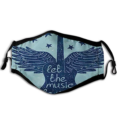 Windproof Mask,Let The Music Be Your Pilot Quote Winged Electronic Guitar and Stars Retro Print,Printed Facial Decorations for Man and Woman ABT-0018063