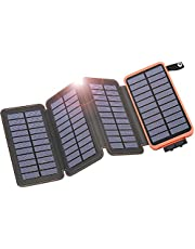 IXNINE Solar Charger Power Bank 25000mAh Portable Phone Charger with 4 Solar Panels & Dual Outputs for iPhone, Cell Phone, Tablet