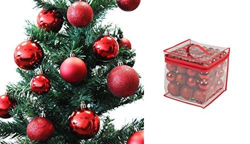 Lot 77 boules de Noël 4/6/8cm - Noel Décoration Sapin - Rouge - 735