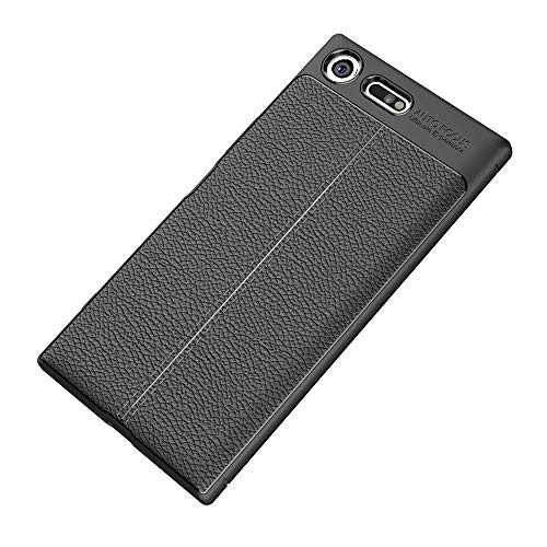Capa premium para Sony Xperia XZ com estampa de Litchi, capa traseira ultrafina TPU preto