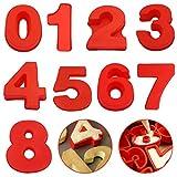 FANDE Stampo in Silicone per Torte, 9 Pezzi Stampi per Torte Numeri in Silicone Strumenti Decorazione Torta in Rosso Tortiera Silicone Stampo in Silicone per Torte da 0 a 8