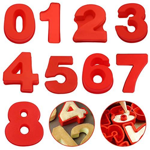 FANDE Silikon Backform, 9PCS Zahlenkuchenform 0-8 Zahlen Set Kuchenform Silikon Zahlen für geschichtete Zuckerguss Creme Obst Kuchen Hochzeit Geburtstag Party Dekoration