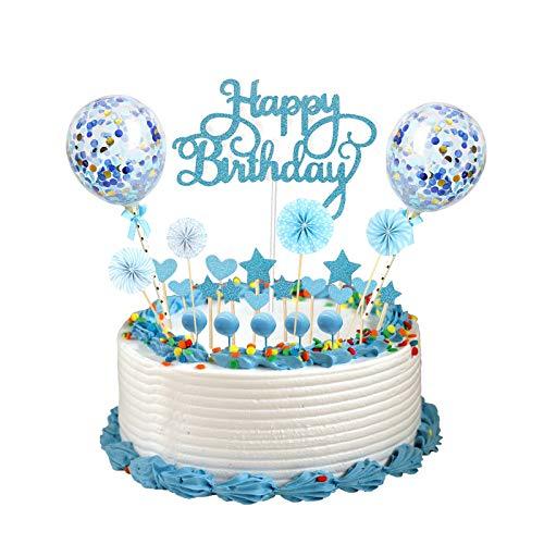 Amycute Decoración para Tartas de Cumpleaños Torta Toppers Happy Birthday Cake Topper con Estrellas Corazón Abanicos de Papel Globos Confeti Cupcake Topper para Niños Cumpleaños Baby Shower Bodas