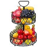 Obst Etagere Metall Schwarz - 2 Stöckig Obstkörbe 30cm Dekorativer Gemüsekorb Vintage Etagere für Obst Aufbewahrung - Küche Deko Obstkorb Etageren mit Obstschalen