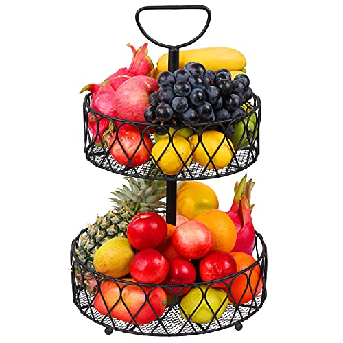 Frutero de metal negro – 2 pisos cesta de fruta 30 cm cesta de verduras decorativa vintage pisos para almacenamiento de frutas – Cocina decorativa cesta de frutas pisos con fruteros