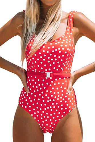 CUPSHE Roter Polka Dot Badeanzug mit Gürtel, L