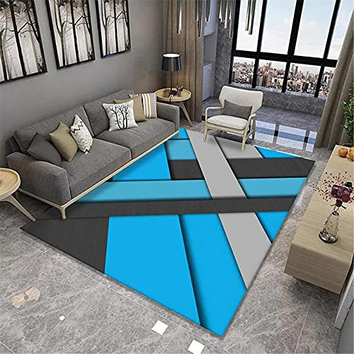 CCTYJ Azul Gris patrón geométrico Irregular Moderno Abstracto Antideslizante Antideslizante sofá Interior Duradero Sala de Estar alfombra-100x160cm Calidad Precio relaci