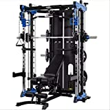 Commercial Home Gym - Smith Machine, Cables with Built in 160 kg Weights (Blue Machine & Bench)