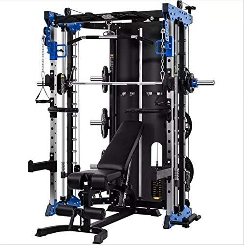 Commercial Home Gym - Smith Machine, Cables with Built in 160 kg Weights (Deluxe Blue)