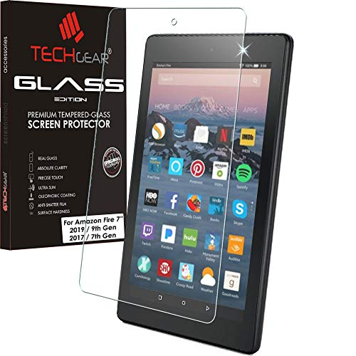 TECHGEAR GLASS Edition Screen Protector for New Amazon Fire 7' Tablet (9th Generation / 2019 & 7th Gen / 2017) - Genuine Tempered Glass Screen Protector Cover (Not For Amazon Fire 7' 5th Gen / 2015)
