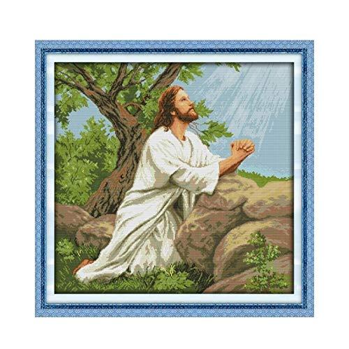 11CT Gedruckt auf Tuch-Kreuz-Stich-Jesus Figur Familie Dekoration Gebet Jesu Dekorative hängende Gemälde Handgemachte Kreuzstich (Cross Stitch Fabric CT number : 14CT unprinted)