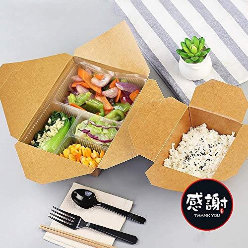 Home big wrist Ciotola di carta kraft antiscottatura a doppio strato monouso - Party picnic 4 Set riso 5 intervalli scatola for riscaldamento forno a microonde sashimi sushi [100 confezioni] Zuppiera