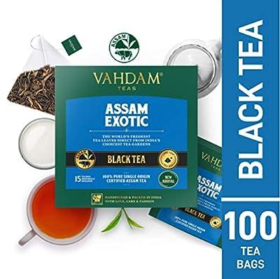 VAHDAM, Assam Thé Noir (100 Sachets) - Longue Feuille Assam - RICHES & MALTY - Petit-Déjeuner, FTGFOP1, 100% Certifié De Thé Assam Non Mélangé Pur à Feuilles