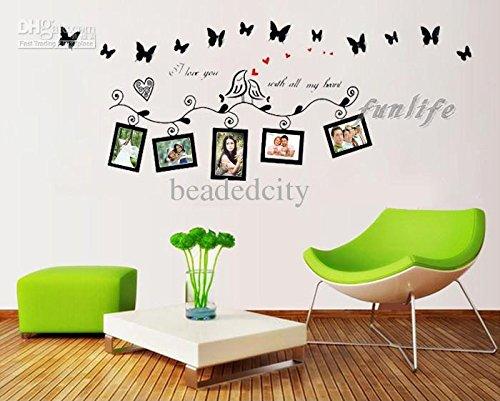 Createforlife Home Decor Vinyl Muursticker Quote Ik hou van je met al mijn hart zwarte fotolijsten Room Decal Art Mural Wallpaper door Createforlife