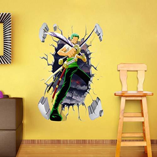 Pegatinas de Pared One Piece 3D Etiqueta de la Pared Sauron Murales Murales Lindo Papel Pintado Roto Decorativo Vinilo Fondo de Pantalla Decoración de la Pared (Size : 40x60cm)