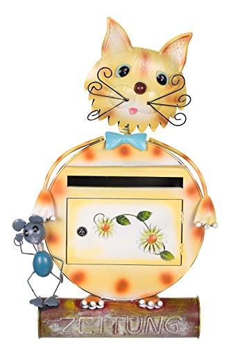 Antiker großer und sehr edler Briefkasten , Tierdesign Katze, NA12A478-1 Handbemalt. sehr schön gearbeitet Metallverzierung, Mit Zeitungsrohr, Einfach nur der Hingucker Wandbriefkasten, Briefkasten, Nostalgischer Metall Briefkasten 74 cm hoch