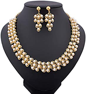 Fashion White Pearl Necklace Earrings Gold Plated Beads Bridal Jewelry Sets