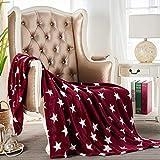 JYK Flannel Fleece Throw Blanket, 50'x60', Super Soft Plush Microfiber Fuzzy Blanket, Lightweight Fluffy Throw Blanket for Couch(Throw, Red Star)