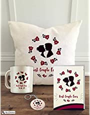 """ALDIVO 12"""" x 12"""" Soft Micro-Satin Marriage Printed Cushion Cover with Filler and Marriage Printed Coffee Mug with Marriage Greeting Card and Printed Key Ring Combo Pack"""