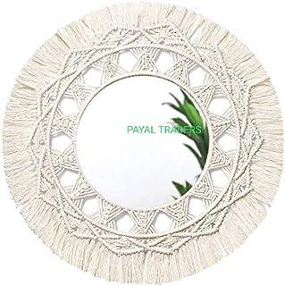 Happy payal Traders,Macrame Mirror Wall Hanging Handmade Beautiful Macrame Hanging Boho Fringe Round Decorative for Apartm...
