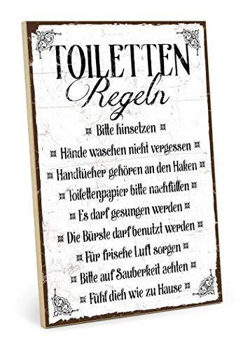 TypeStoff Holzschild mit Spruch – TOILETTEN-Regeln – im Vintage-Look mit Zitat als Geschenk und Dekoration zum Thema Toilette, Klo, Pipibox (M - 19,5 x 28,2 cm)