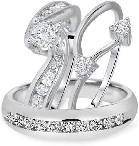 Triostar Juego de anillos de boda de diamantes de 1,50 quilates para hombre y mujer