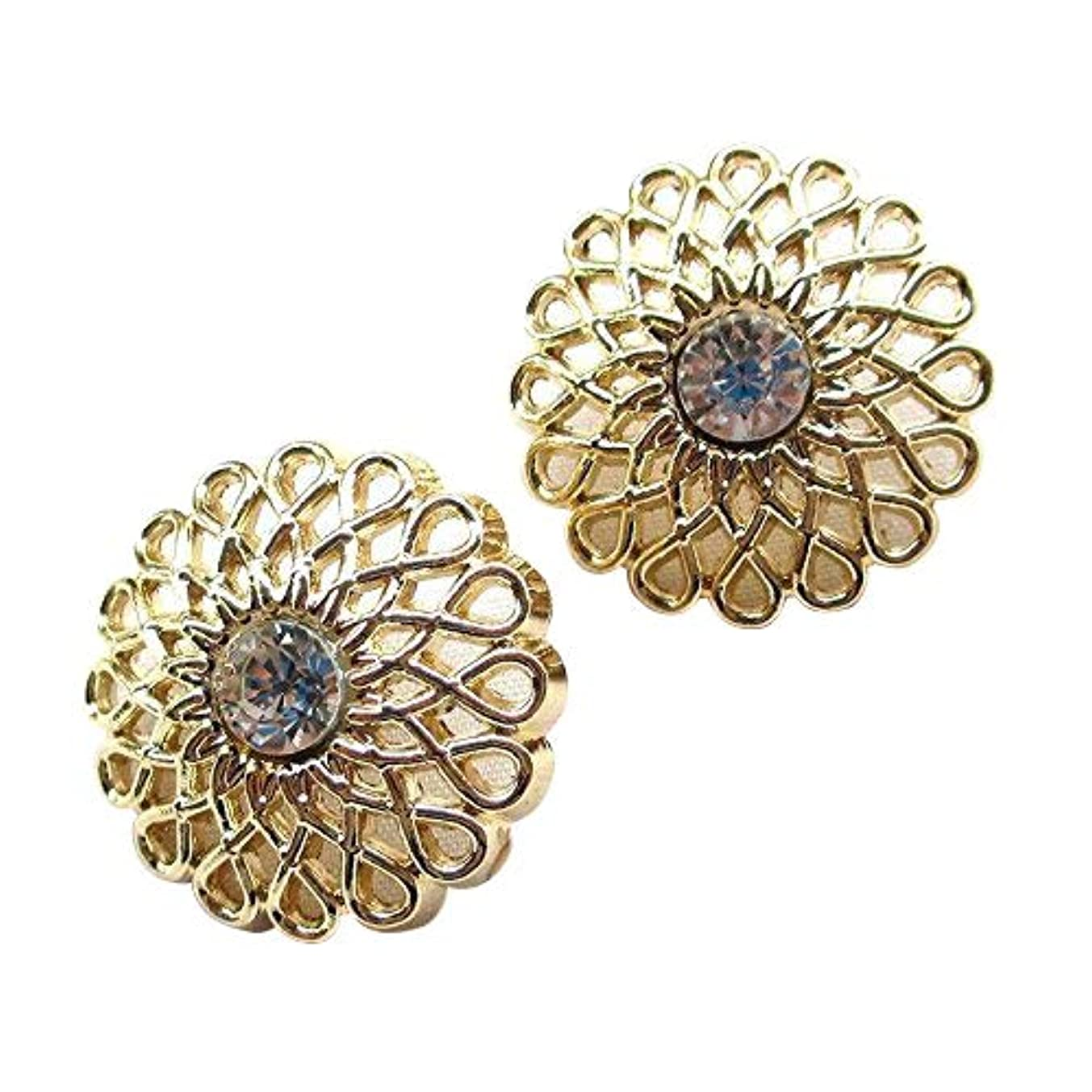 Chenkou Craft New 20pcs Gold Alloy Rhinestone Crytal Hollow Buttons 25mm Sewing Craft Mix Lots ?- (gold4)