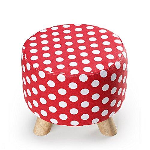 Repose-pieds avec 3 pieds Tabouret de chaise en bois avec pouf Pouf rond Design en lin amovible Repose-pieds Tabouret de maquillage pour salon | Couloir Max, 150KG 30x28cm (Couleur : Red)