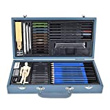 Art Painting Supplies   60pcs/set Professional Charcoal Pencil Sketching Drawing Pencil Kit for Kids, Teens and Adults,Including Sharpener Eraser Carbon Rod ect.(Gray)