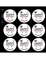 90 قطعة من ملصقات Happy Birthday ، ملصق وجه مبتسم ، ملصقات دائرية، ملصقات ملصقات ملصقات تسمية مزخرفة بظرف عيد ميلاد سعيد بواسطة CSC@C