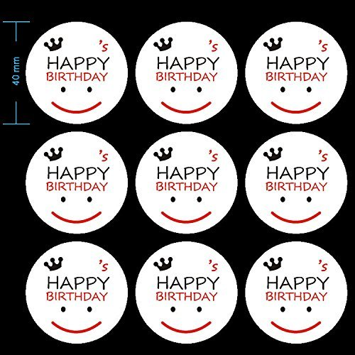 90 Pcs Happy Birthday Stickers , Smiley Face Sticker ,Round Stickers , Happy Birthday Envelope Round Seal Decorative Label Stickers by CSC@C