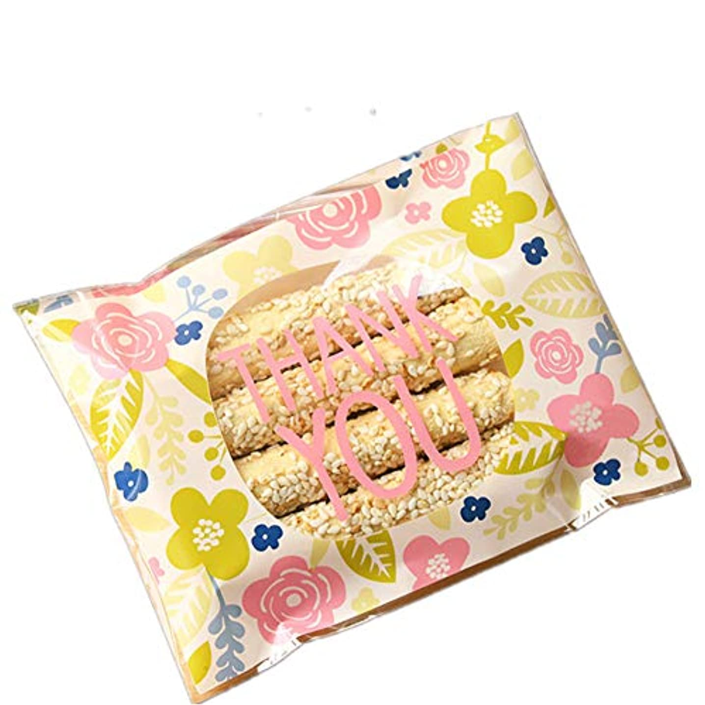 100pcs THANK YOU Treat Bags Pink Flower Cookie Bag Packaging Self-Adhesive Plastic Candy Bags for Wedding Cookie Birthday Cake Pops Gift Candy Buffet Supplies