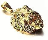 LBBYLFFF Collar Colgante de Acero de Titanio Collar Colgante de Acero Inoxidable Accesorios para Hombres Cabeza de león de Oro galvanizado Collar Colgante de Acero de Titanio Regalo niña niño ja