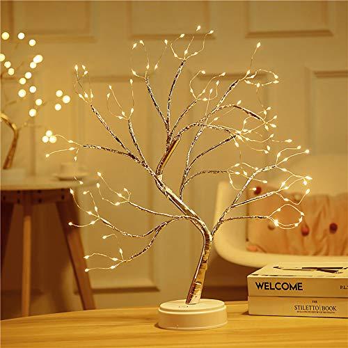 Tisch Bonsai Baumleuchte 108 LED-Kunstbaum leuchte Batterie-/USB-betriebener Mini-Weihnachtsbaum Verstellbare Zweige für die Weihnachtsdekoration zu Hause Warmweiß