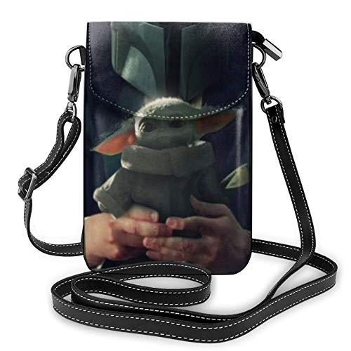 NuoJiaGe Bolso bandolera de cuero para teléfono, cartera para mujer, bolso pequeño, mini bandolera Baby Yo-da Mandalorian