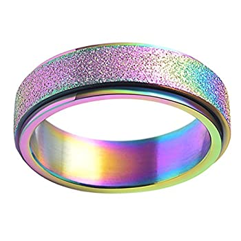PAURO Women s Stainless Steel 6MM Rainbow Flag Lucky Spinner Worry Ring Band Size 7