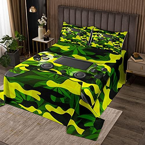 Erosebridal - Juego de ropa de cama para niños, diseño de camuflaje militar para niños, hojas de cannabis, decoración de malezas, colcha para niñas, mujeres, niños, estilo...