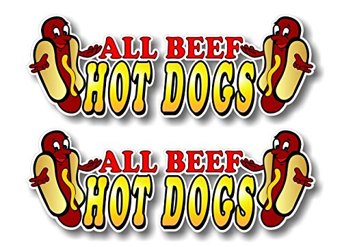 2 All Beef Hot Dogs 6 Decals for Concession Trailer or Hot Dog Cart Menu Board Vinyl Stickers ((2) 2x 6)