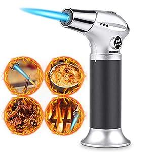 Antorcha de Cocina, RenFox Soplete de Cocina Profesional Antorcha Butano Encendedor Culinario Mini Soplete de Gas Recargable con Cerradura de Seguridad y Llama Ajustable para Brulée Crema, Cámping