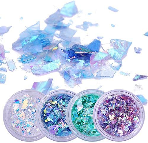 Holographic Mermaid Nail Sequins Chunky Glitter Fluorescent Glass Paper Ultra thin Iridescent product image